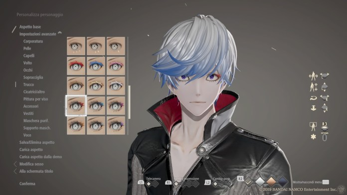 Editor del personaggio in Code Vein