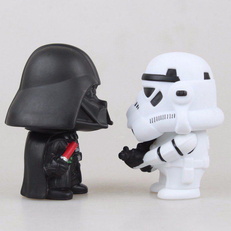 Coppia di statuette 10cm DarthVader e Stormtrooper