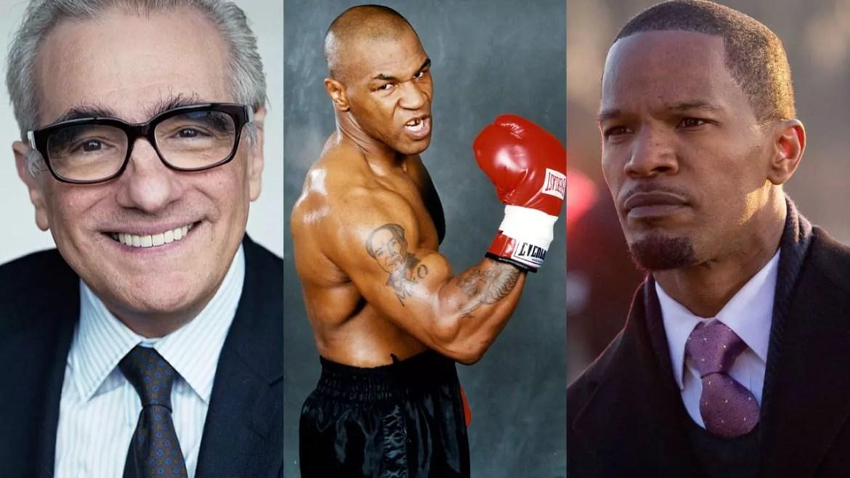 Da sinistra a destra vediamo: Martin Scorsese - Mike Tyson - Jamie Foxx