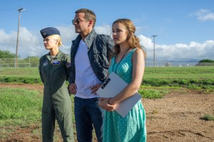 """L-r, Emma Stone, Bradley Cooper and Rachel McAdams star in Columbia Pictures' """"Aloha."""""""