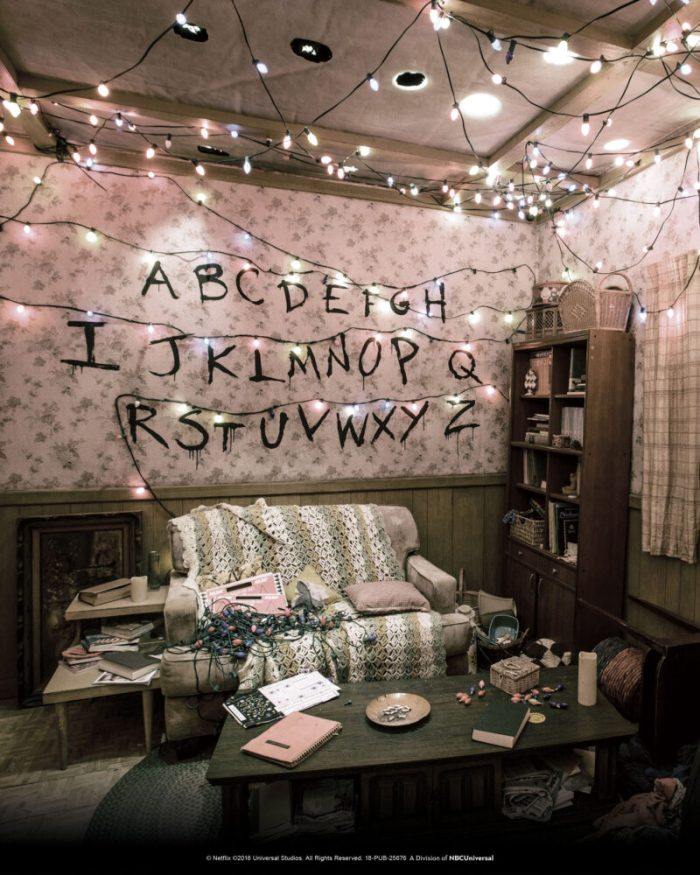 """The Byers home living room within the """"Stranger Things"""" Maze. Image courtesy of Universal Studios Hollywood."""
