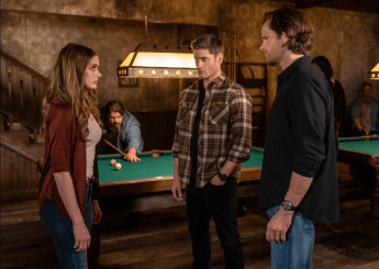 Hanneke Talbot as Evie, Jensen Ackles as Dean and Jared Padalecki as Sam. Image Courtesy The CW.