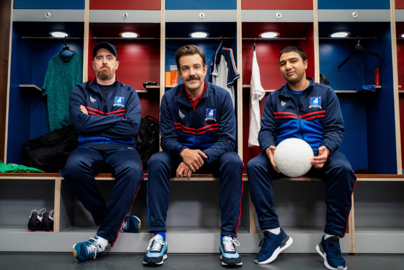 Brendan Hunt, Jason Sudeikis and Nick Mohammed in Ted Lasso