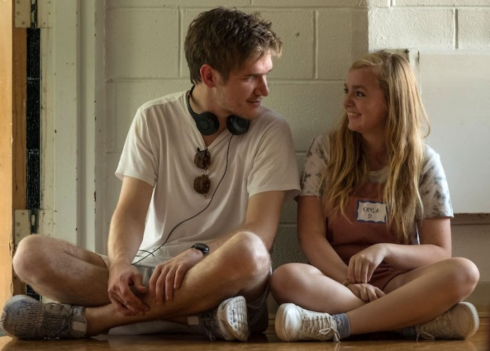 Bo Burnham and Elsie Fisher behind the scenes filming Eighth Grade