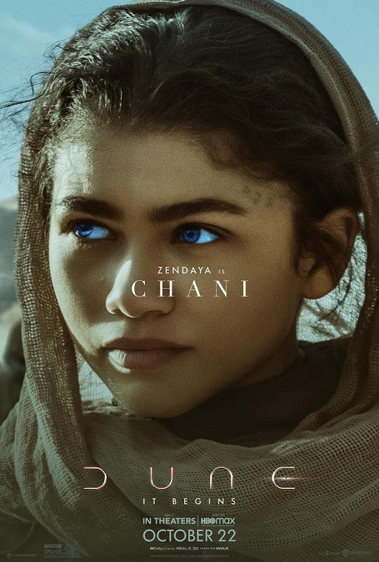Dune character poster featuring Zendaya as Chani