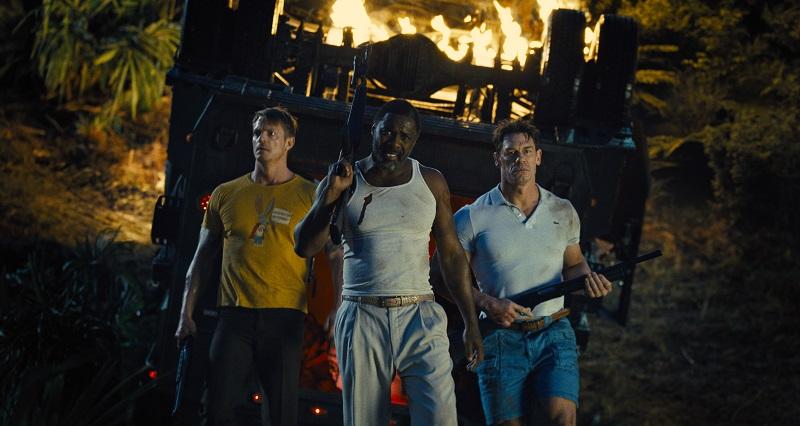 Still frame of Joel Kinnaman, Idris Elba, and John Cena
