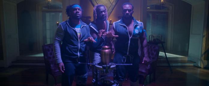 The New Day (Xavier Woods, Big E, Kofi Kingston) in Escape The Undertaker
