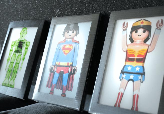 Lumas Art Now BRENDAN FITZPATRICK X-ray of a Toy Robot - Horned Robot Wonder Woman Superman
