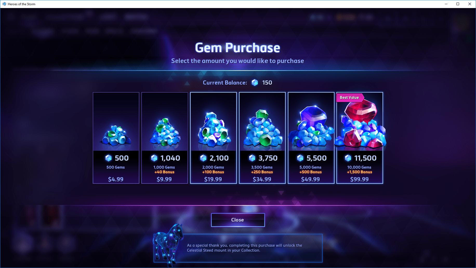 Heroes of the Storm Gem Purchase