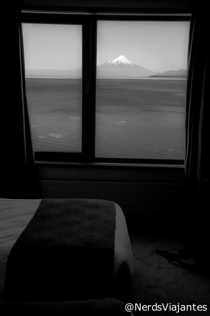 Vulcão Osorno visto do quarto do hotel em Puerto Varas - Chile
