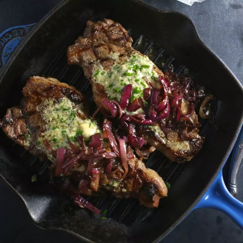 Grilled Steak with Blue Cheese Chive Butter and Balsamic Red Onions