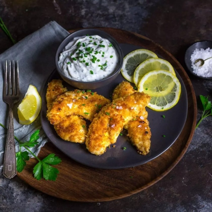 Crispy Oven-Fried Chicken Tenders with Garlic-Herb Yogurt Dip