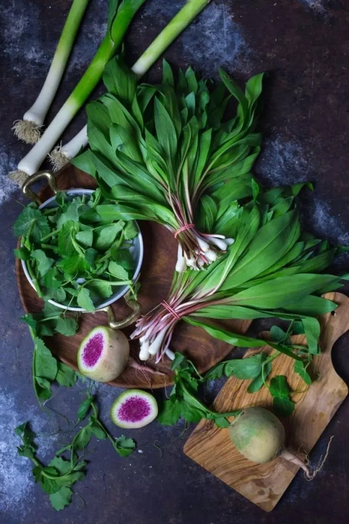 Ramps, watermelon radishes, young leeks and pea shoots