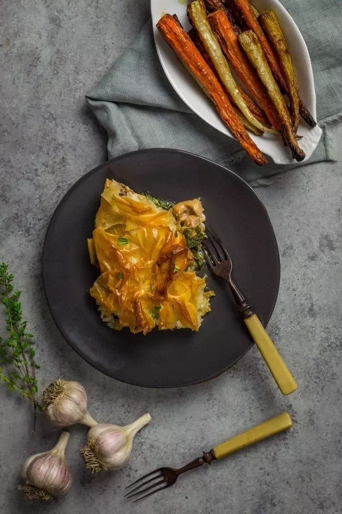 Phyllo Pot Pie with Creamy Chicken, Caramelized Onions and Swiss Chard