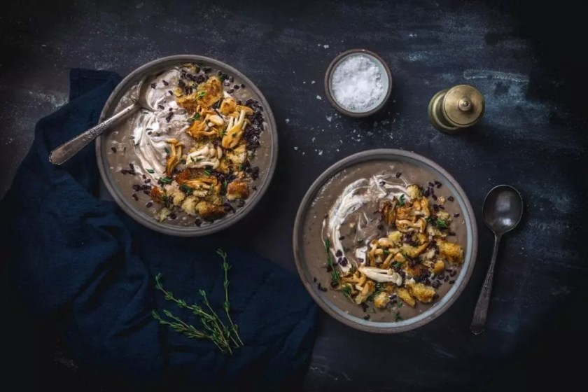 Mushroom Soup with Black Rice