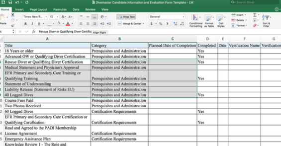 divemaster Candidate information and evaluation form excel