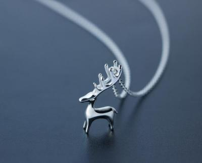 Real-925-Sterling-Silver-font-b-Deer-b-font-Antler-Necklace-Pendant-Animal-CHRISTMAS-Gift-women