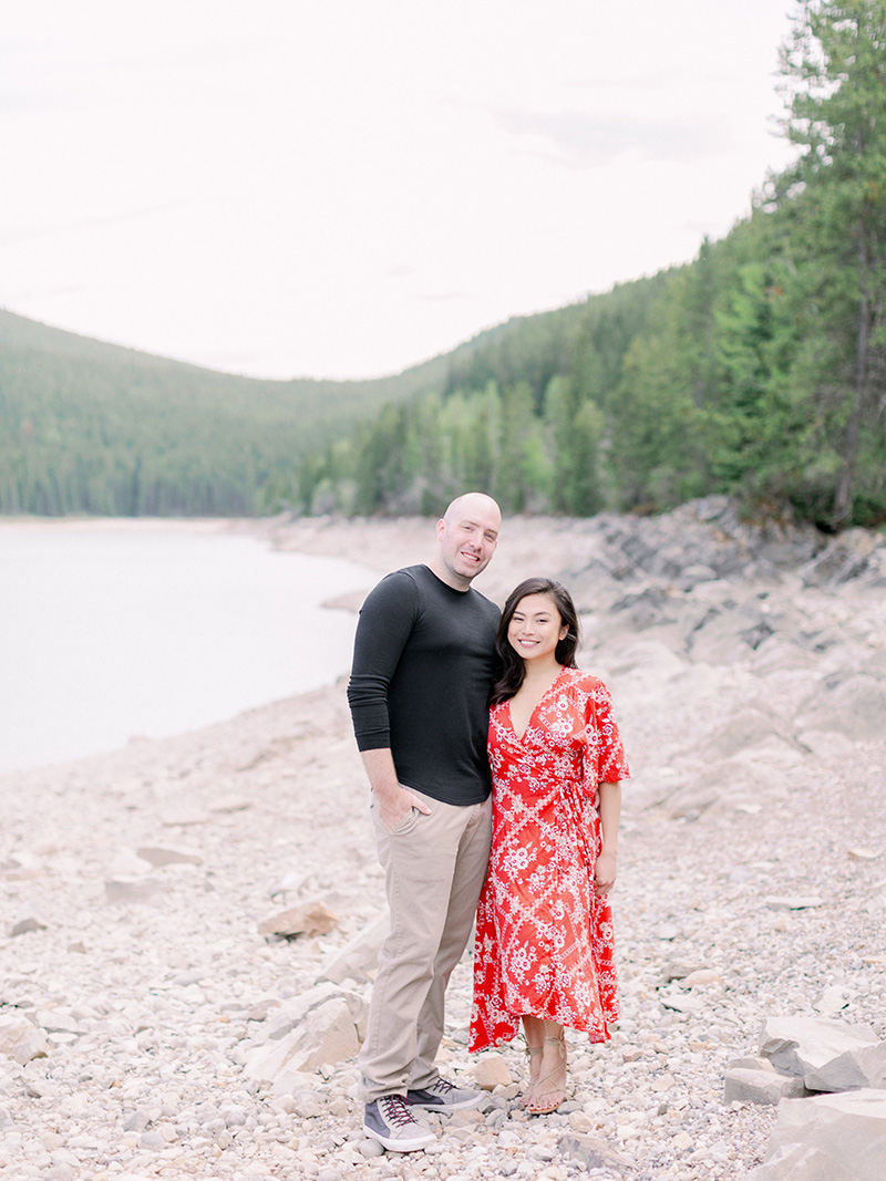 minnewanka lake engagement photo