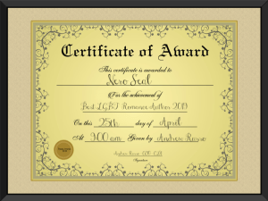 Best LGBT Romance Author 2019 Certificate