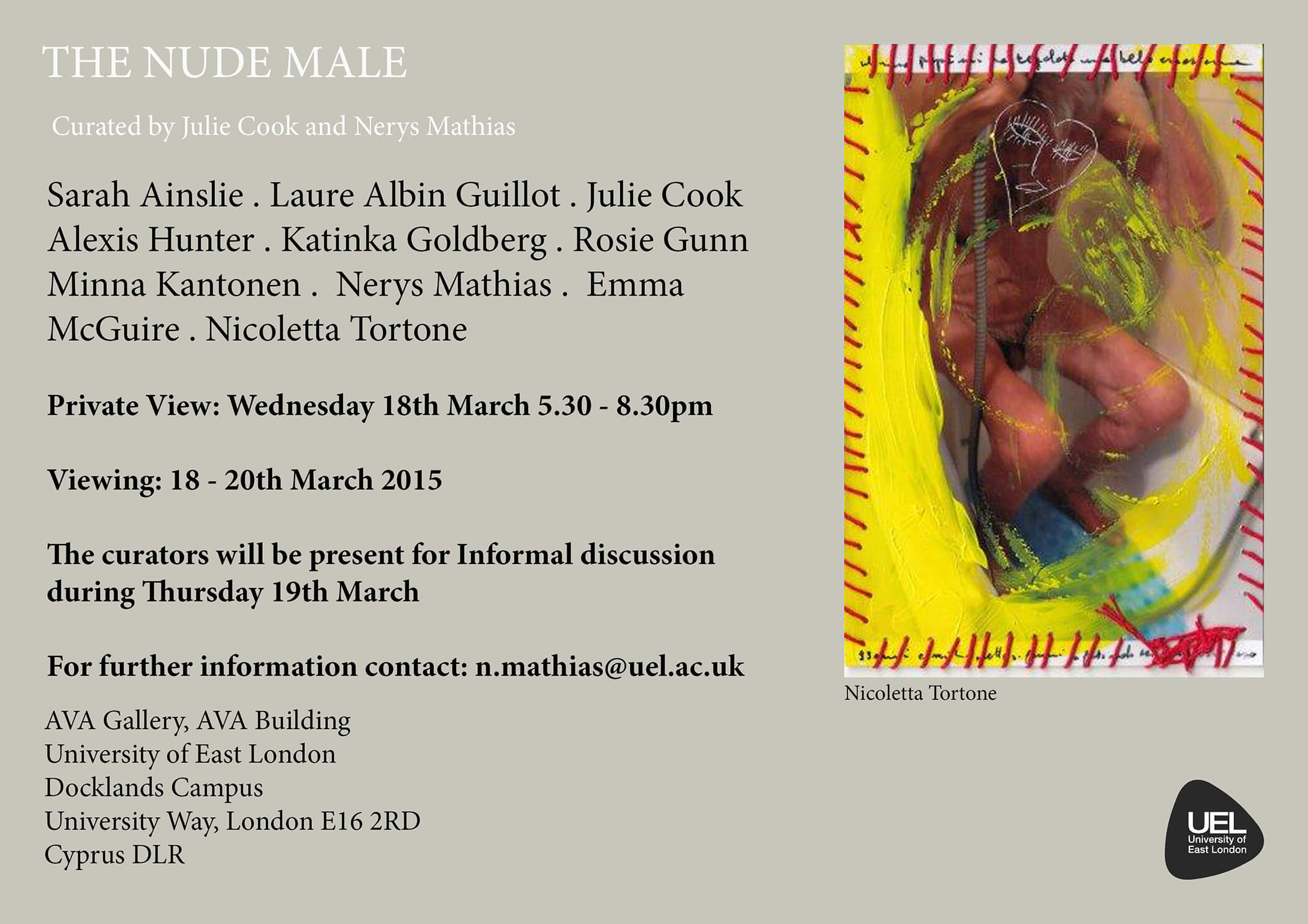 invite, the nude male, julie cook, nerys mathias, uel