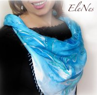 Handpainted silk scarf with silver winter pattern ...