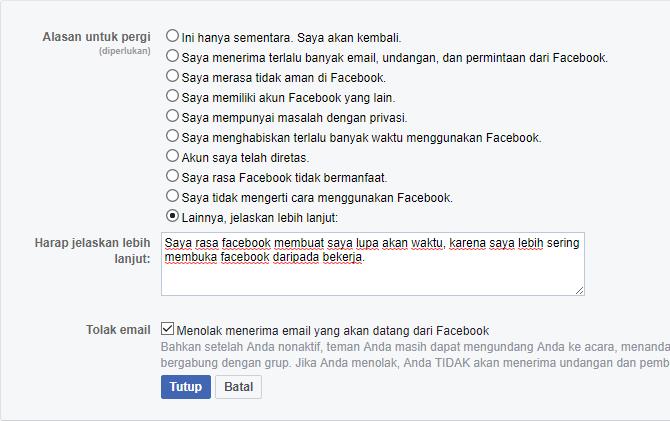 cara menonaktifkan akun facebook sementara