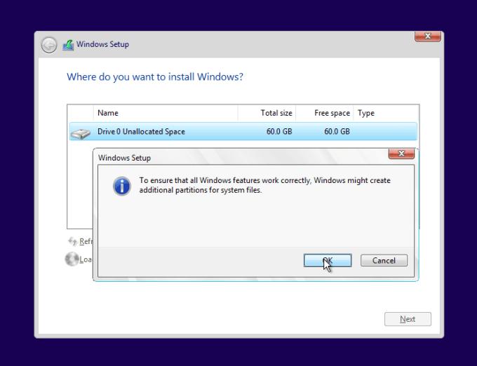pilih yes untuk membuat system reserved windows 10
