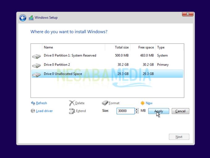 buat partisi lagi windows 10