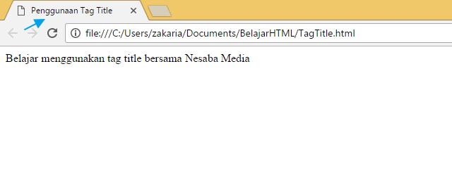 Penggunaan tag title dan doctype