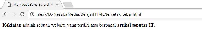 cara membuat tulisan tebal di html