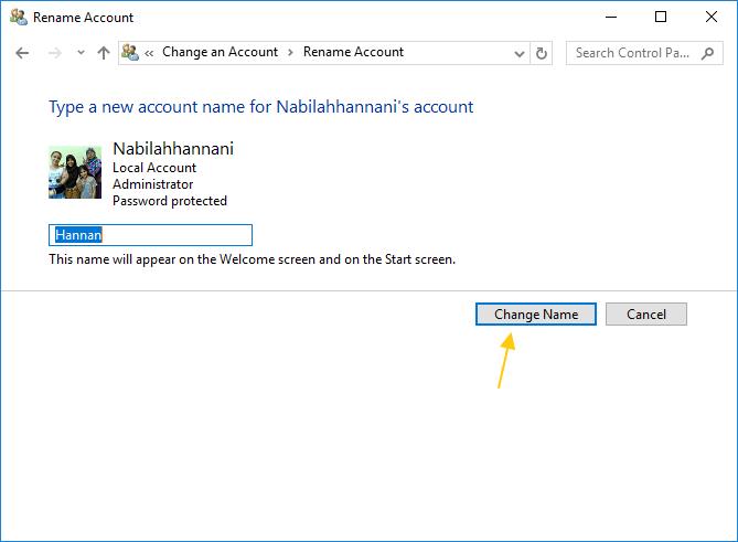 mengganti user name account