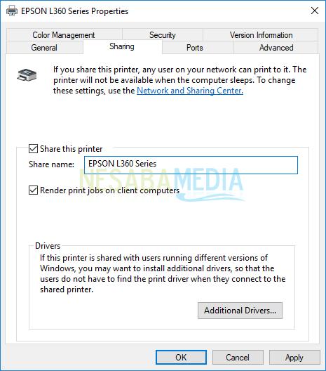 Pilih menu Printer > Sharing