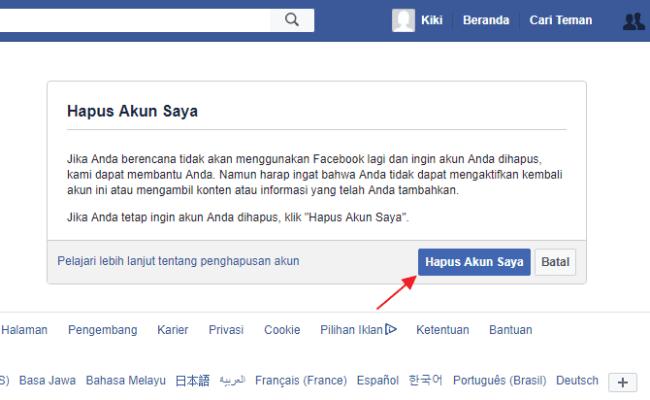 2 Cara Menghapus Akun Facebook Fb Sementara Permanen