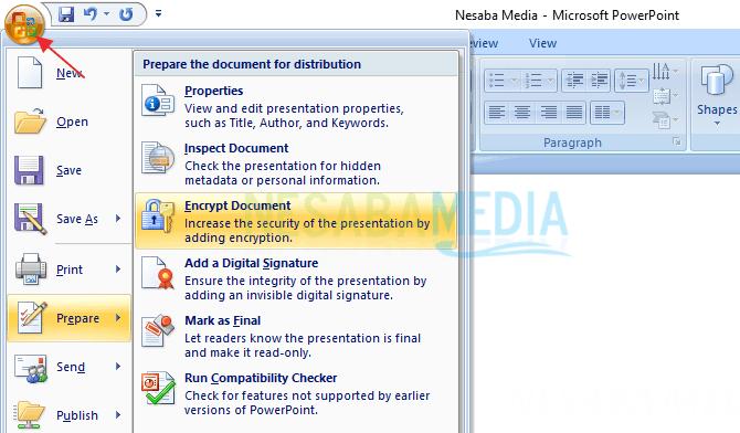 untuk versi powerpoint 2007