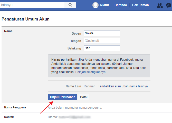 mengganti nama FB 3