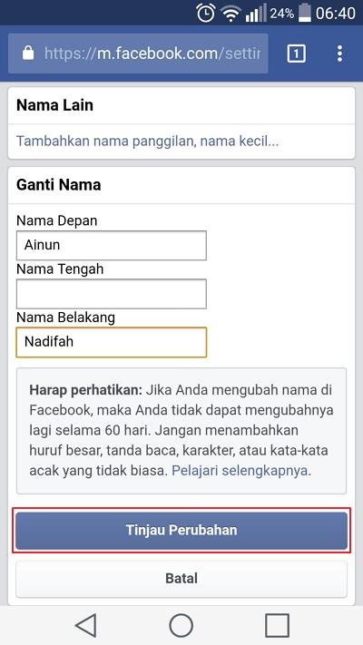 cara mengganti nama facebook lite