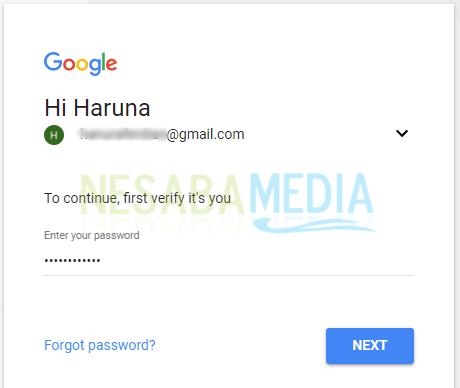 Masukkan password sekali lagi