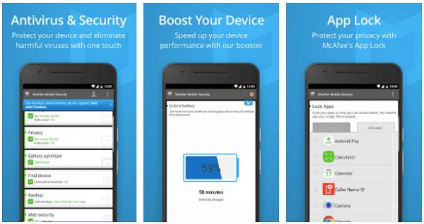 Tampilan McAfee Mobile Security