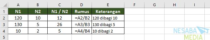 Pembagian di Excel 1