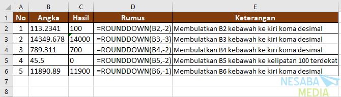 Cara Membulatkan Angka di Excel dengan fungsi ROUNDDOWN II
