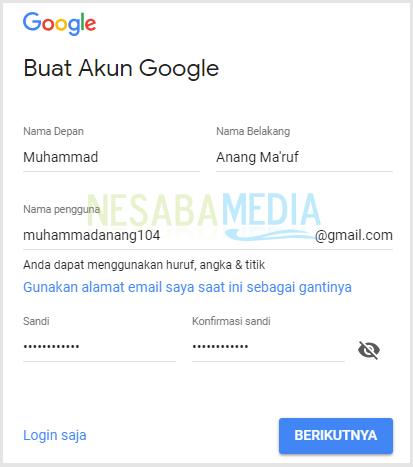 membuat akun google 1