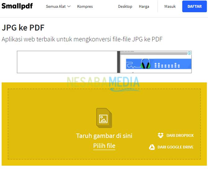 cara mengubah JPG ke PDF Online
