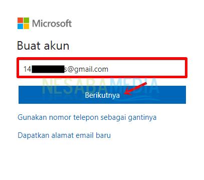 Langkah 4 - isi email lalu klik berikutnya
