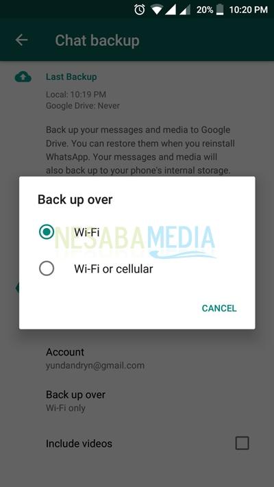 Cara Backup Whatsapp di HP Android