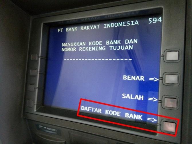 Langkah 8 - lihat daftar kode bank