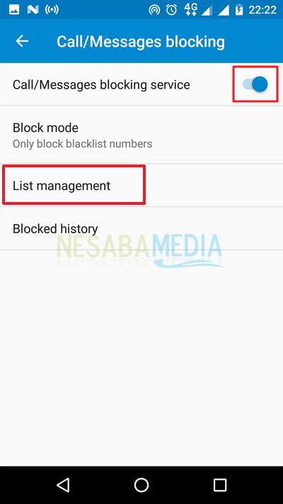 klik Call/Messages blocking