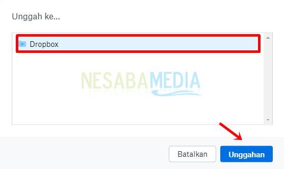 Langkah 6 - klik Dropbox lalu Unggahan