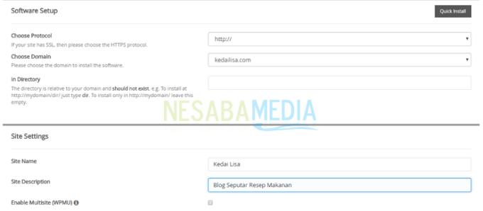 masukkan nama situs dan deskripsi situs