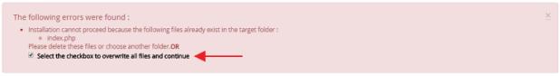 Error installation time of WordPress