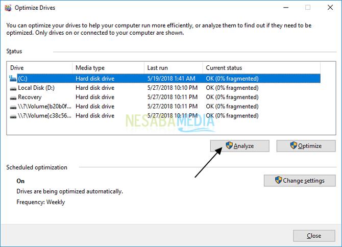 cara defrag laptop windows 10